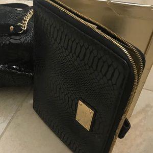 Michael Kors black leather croc tablet zipper case